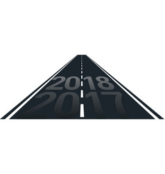concept of new year 2018 on the road vector image vector image