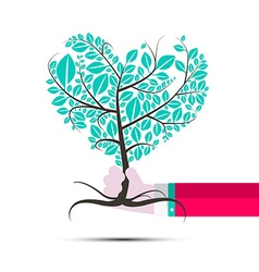Heart Shaped Tree in Human Hand vector image
