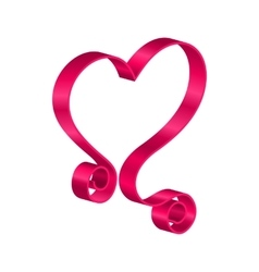 Pink Tape Ribbon in Form Heart for Happy vector image