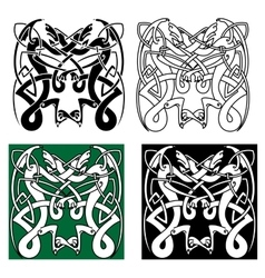 Tribal dragons with celtic knot pattern vector image vector image