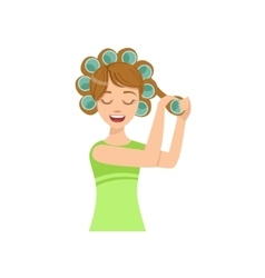 Woman Curling The Hair Home Spa Treatment vector image vector image