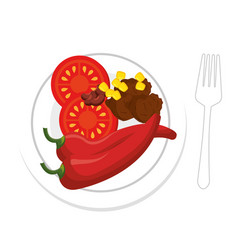 chili and meat mexican food with red pepper vector image