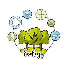 Ecological trees with environment care icons vector