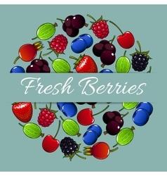 Fresh berries fruit poster vector image vector image