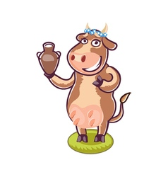 Happy cartoon cow holding milk vector image