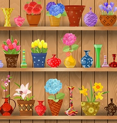 modern glass vases and flowers planted in art vector image