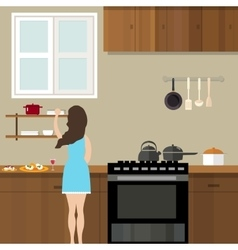 mom woman cooking in kitchen preparing for food vector image