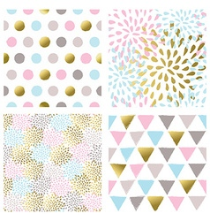 Set of abstract seamless patterns in gold color vector image vector image