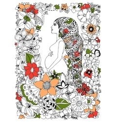 zentangl pregnant woman in a vector image