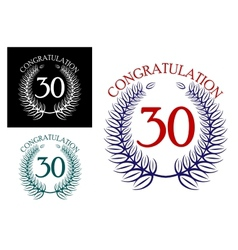 30 th Anniversary congratulation wreaths vector image vector image
