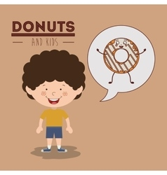 donuts and kids design vector image