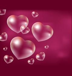 realistic soap bubbles heart-shaped drops of vector image