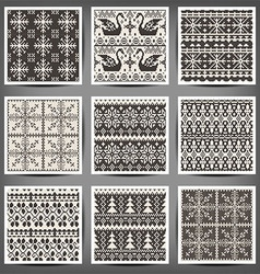 set of seamless knitted patterns vector image vector image