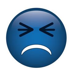 unhappy face emoticon funny icon vector image vector image