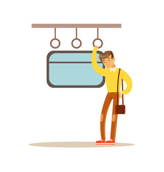 young man sleeping in the train vector image