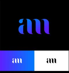 a and m monogram original blue symbol vector image