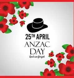 anzac day lest we forget greeting card celebration vector image