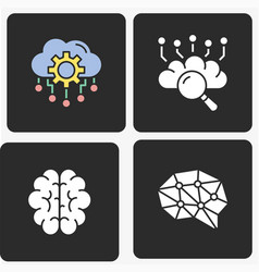 artificial intelligence icons set vector image