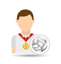 athlete medal volley ball icon graphic vector image