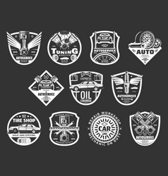 Auto service or car repair monochrome icons vector