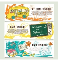 Back to school banners or website header set vector