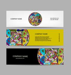 Banners design ethnic mandala vector