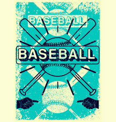 baseball typography vintage grunge style poster vector image