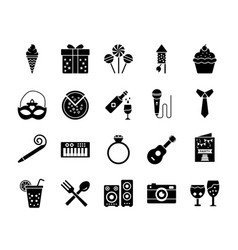Birthday glyph icon pack vector