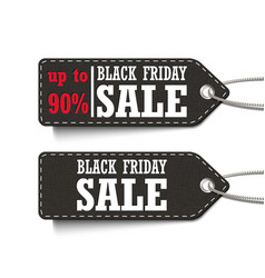 black friday sale up to 90 tags set isolated on a vector image