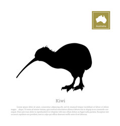 Black silhouette of kiwi bird animals of australia vector