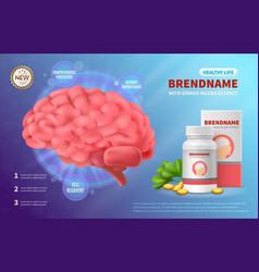 Brain medicine advertising composition vector