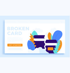 Broken credit card stock for landing page or vector