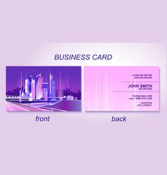 Business card night city vector