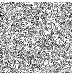 Cartoon cute doodles hand drawn native american vector