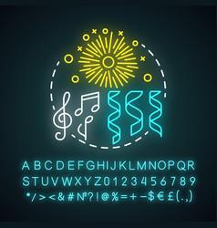 celebration neon light concept icon festival vector image