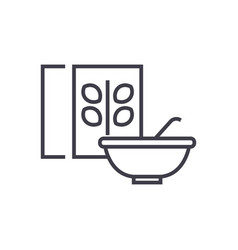 cerealporridge bowl and box line icon vector image