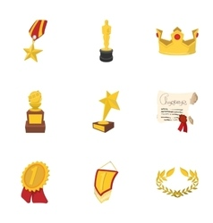 Championship icons set cartoon style vector