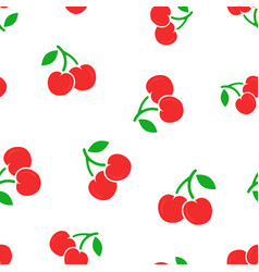 cherry berry icon seamless pattern background vector image
