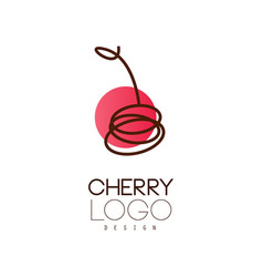 cherry logo design creative template for cafe vector image