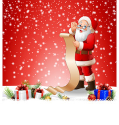 Christmas background with santa claus reading a lo vector