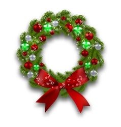 Christmas wreath Green branch of fir tree with vector image