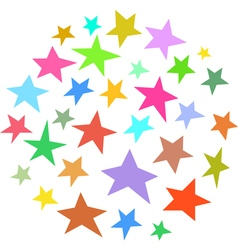 Circle collection of irregular stars hand-drawn vector