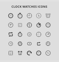 clock watches icons vector image