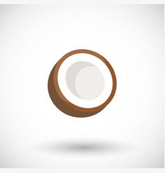 coconut flat icon flat design of fruit vector image