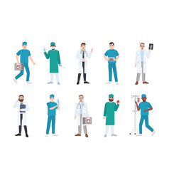 collection of male medical workers dressed in vector image