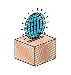 Color crayon silhouette flat globe earth world vector