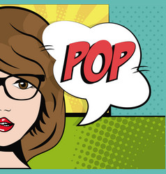 comic brunette girl glasses bubble speech pop art vector image