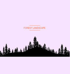 Coniferous forest silhouette template vector