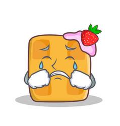 crying waffle character cartoon design vector image