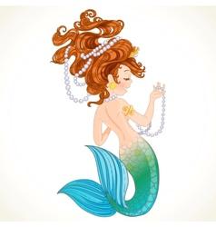 Cute little mermaid with pearl vector